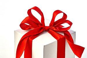 Gift Box Red Satin Ribbon Bow