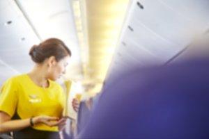 Blurred Flight serving passengers
