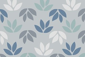 Simple pattern of leaves on blue