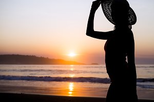 Sunset and woman silhoutte