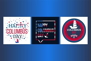 Happy Columbus Day Banners