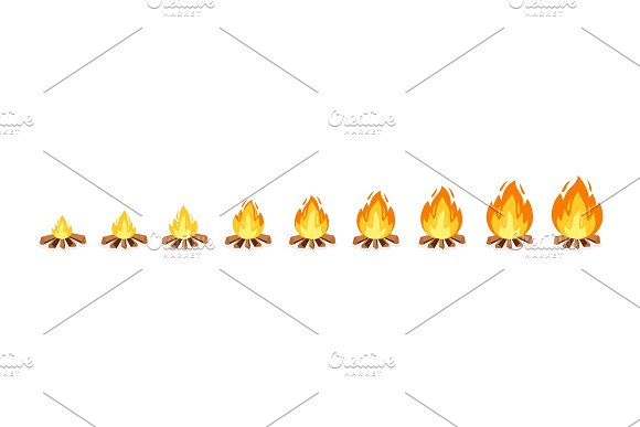 Campfire sprites for animation frame ~ Graphic Objects ~ Creative Market