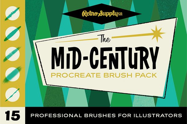 Photoshop Brushes: RetroSupply Co. - The Mid-Century Procreate Brush Pack