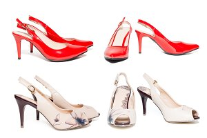 Women's shoes on white background