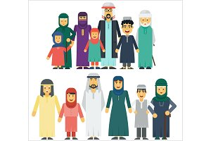 Cartoon funny arab muslim family