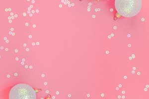 Christmas pink flat lay pattern with