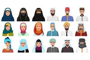 Middle Eastern male & female avatars