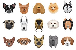 Vector dog heads logo set.