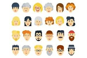 Funny flat avatars icons set