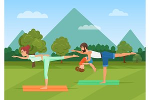 Parents with kid doing yoga