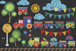 Chalkboard Trains Clipart