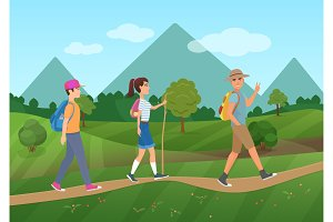 Tourists walking near the mountains
