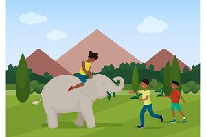 Kids riding, playing with elephant.