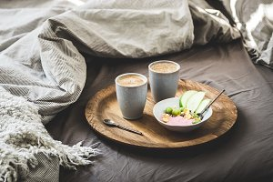 Healthy romantic breakfast in bed