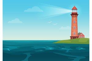 Lighthouse on rock island landscape.