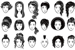 Women avatar hairstyles logo set