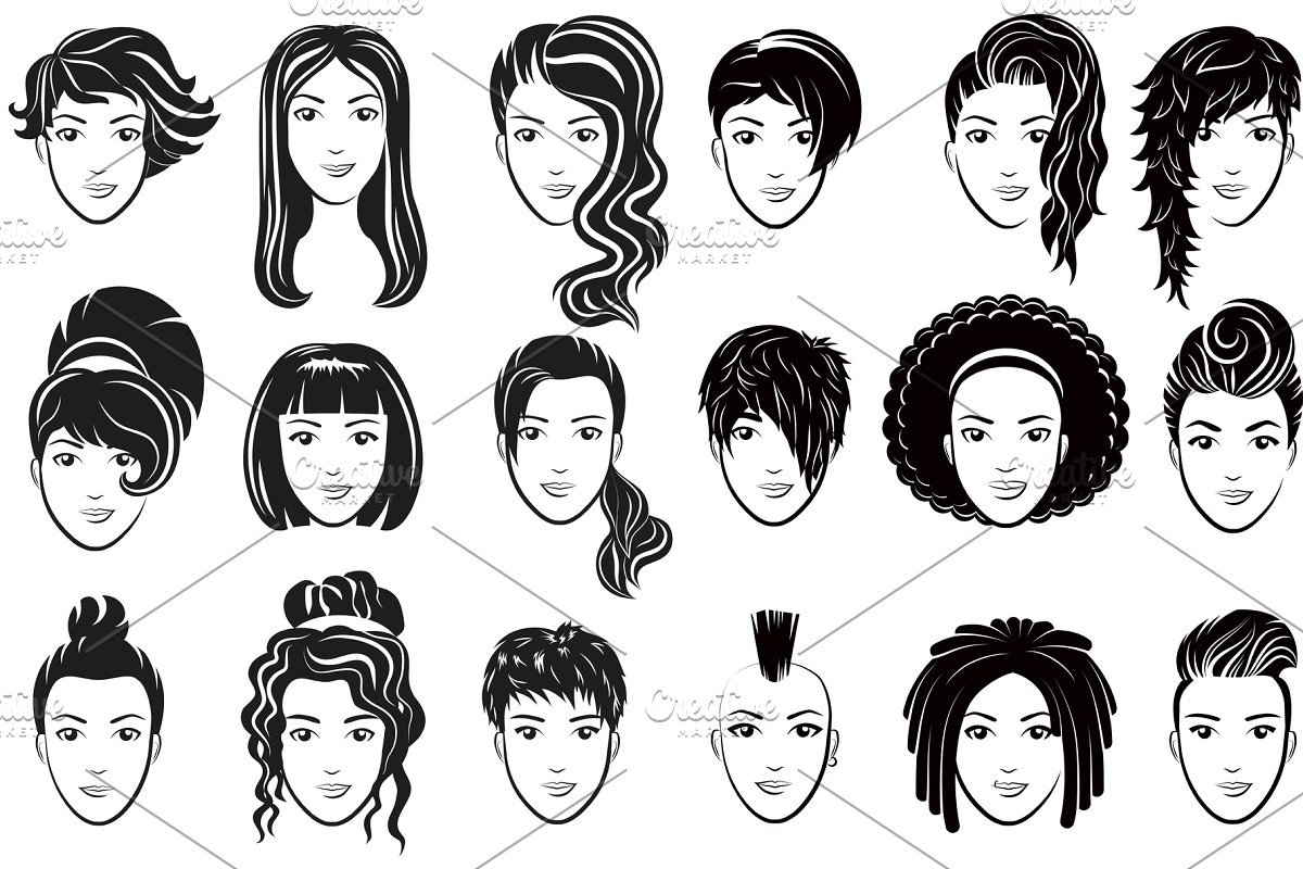 Women Avatar Hairstyles Logo Set Illustrations Creative Market