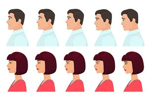 Male Female face profile expressions