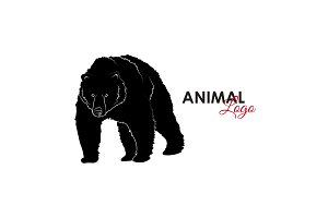 Grizzly bear icon logo symbol vector