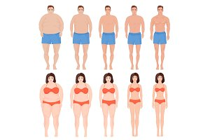 Man and woman slimming stage