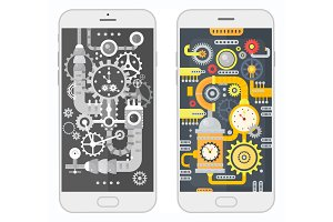 Smartphone with steampunk elements.