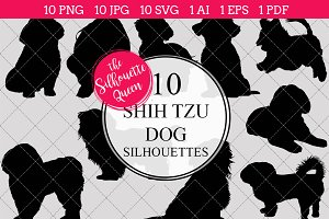 Shih Tzu Dog silhouette vector graph
