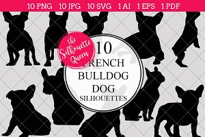French Bulldog Dog silhouette vector