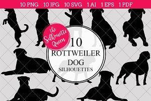 Rottweiler Dog silhouette vector