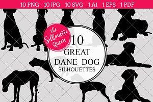 Great Dane Dog silhouette vector