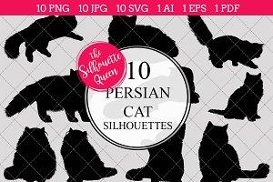 Persian Cat silhouette vector