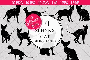 Sphynx Cat silhouette vector graphic