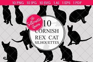 Cornish Rex Cat silhouette vector