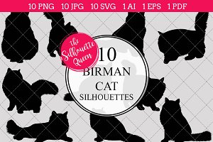 Birman Cat silhouette vector graphic