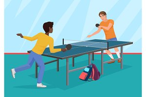 Friends playing the table tennis.