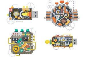 Steampunk watches, usb flash drive