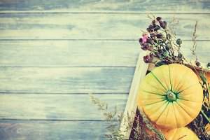 Autumn pumpkins and dry flowers flat