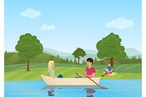 A couple swimming on boat