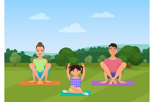 Parents with kid does yoga