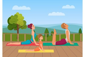 Parents with girl kid does yoga