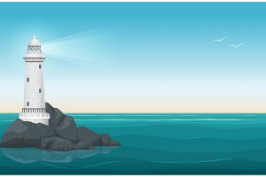 Lighthouse on rock stones island.