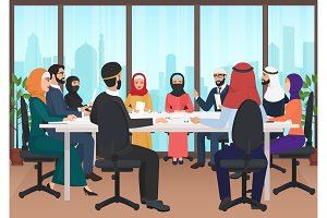 Arab people discussing meeting