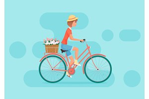 Young woman design riding bicycle