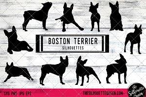 Boston Terrier Dog Silhouette Vector
