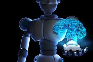 Robot holding human brain in virtual