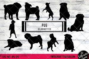 Pug Dog Silhouette Vector