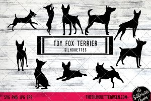 Toy Fox Terrier Dog Silhouette Vecto