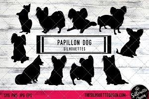 Papillon  Dog Silhouette Vector