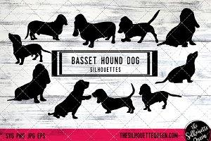 Basset Hound Dog Silhouette Vector