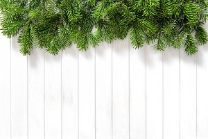 Christmas tree branches bright woode
