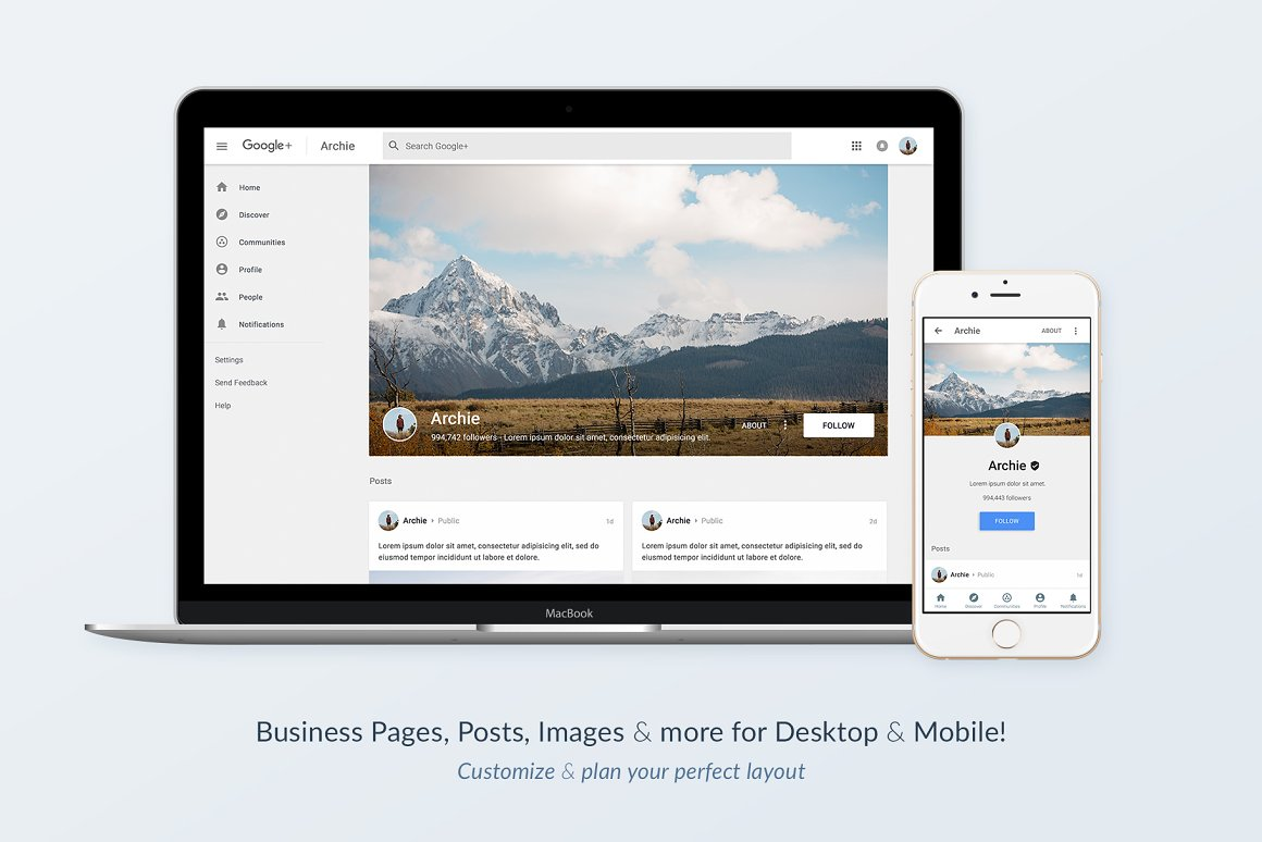 Google+ Social Media Template Pack